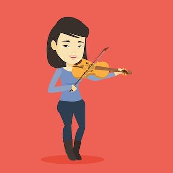 女性演奏ヴァイオリンイラスト。