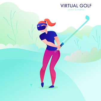 Woman playing virtual gold in augmented reality glasses cartoon