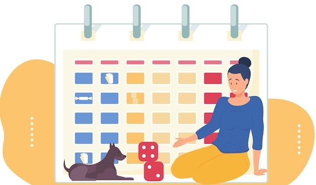 キューブで遊ぶ女性と彼女の犬