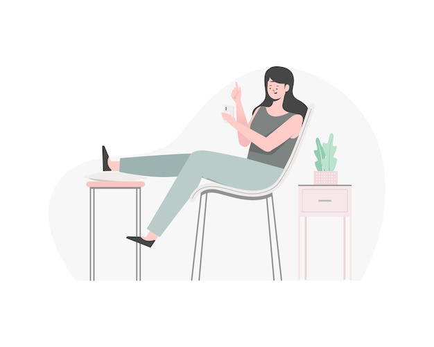 Woman playing with her phone, woman chatting with someone. woman relaxing on the chair. flat illustration.