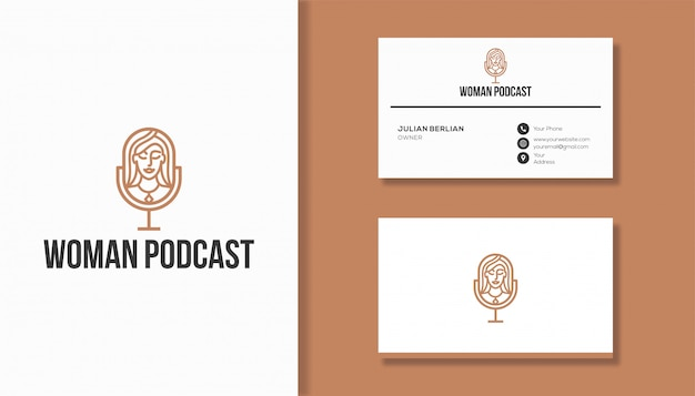 Woman podcast logo design. microphone and woman face logo combination.