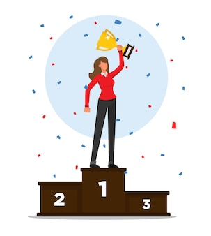 Woman on a podium celebrating victory holding his trophy with confetti