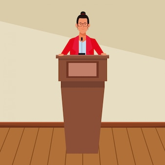 Woman in a podium