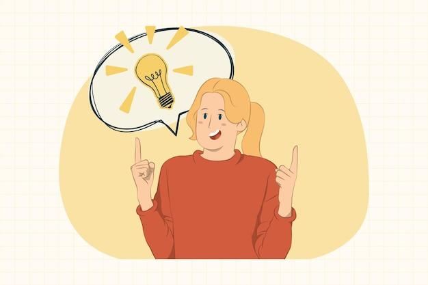 大きなアイデアに人差し指を指している女性