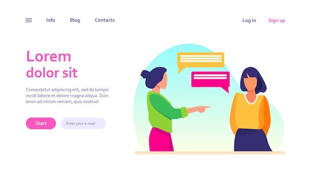 女の子を指して、彼女と話している女性。手、人差し指、吹き出し。ウェブサイトのデザインやランディングウェブページのコミュニケーションと会話のコンセプト
