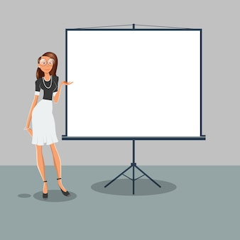 Woman points on the white placard. business presentation. vector illustration