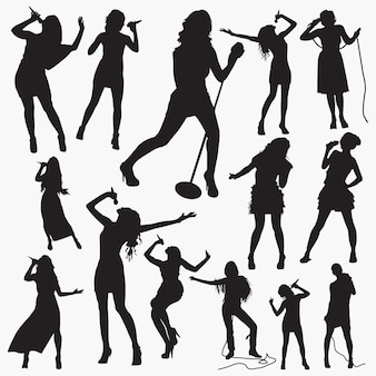 Woman pop singer silhouettes