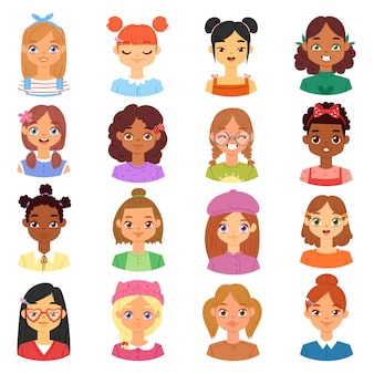 Woman portrait  female character face of girl with hairstyle and cartoon person with various skin tone illustration