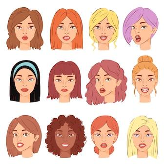 Женский портрет женский персонаж лицо девушки с прической и мультфильм лица иллюстрации набор красивых черт лица на белом фоне
