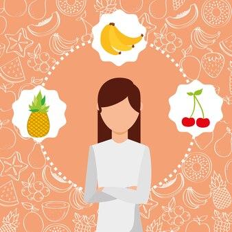 オーガニックフレッシュフルーツイメージの女性の肖像画