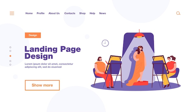 Woman posing for artist landing page template