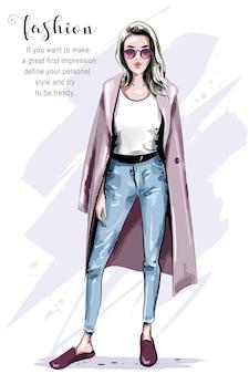 Женщина позирует для обложки моды