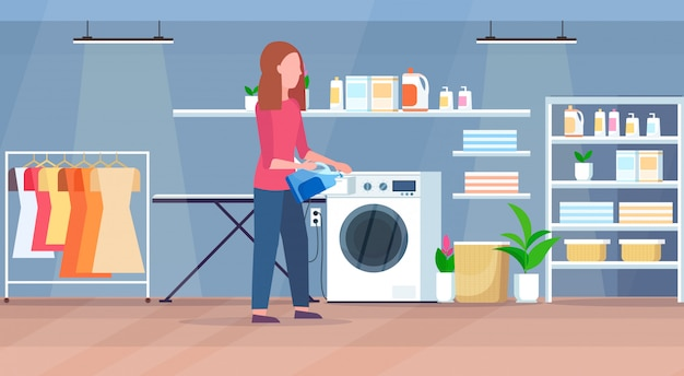 Woman pouring powder gel into washing machine housewife doing housework modern laundry room interior cartoon character full length flat horizontal