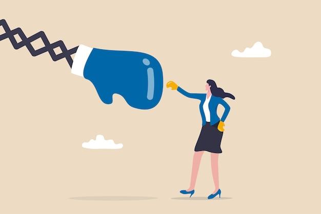 여성의 힘 또는 페미니즘 도전, 경력 경쟁 또는 성 평등 개념, 권투 글러브를 끼고 큰 주먹으로 싸우는 강력한 사업가 중역.