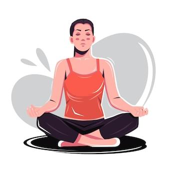女性の練習ヨガ瞑想フラットベクトルイラスト