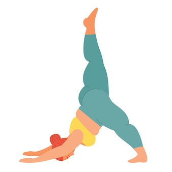 Woman practices yoga sports and fitness fat girl practices asanas yoga poses s