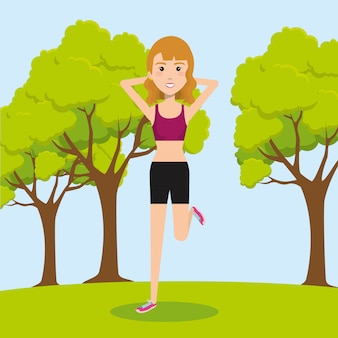 Woman practicing exercice with sports icons