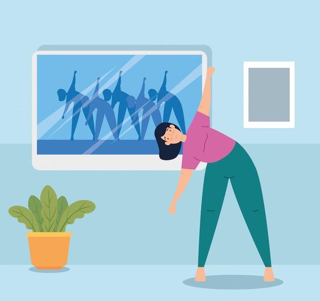 Женщина практикует упражнения в доме векторные иллюстрации дизайн