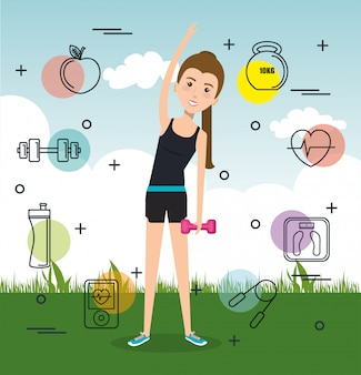 Woman practicing exercise or sports