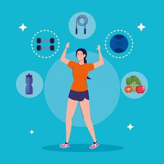 Женщина упражнениями со спортивными иконами