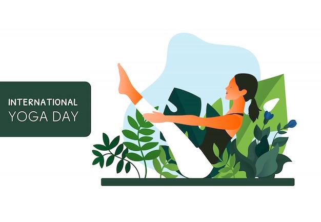 Тренировка йоги женщины практикуя, представление йоги. международный день йоги.