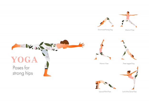 Женщина практикующих йогу упражнения, позы йоги для сильных бедер. современная квартира веб-страницы или мобильного сайта. международный день йоги. иллюстрация