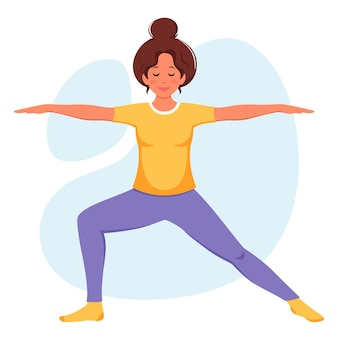 ヨガの健康的なライフスタイルを実践している女性は瞑想をリラックスします