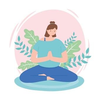 Женщина практикующих йогу позы лотоса упражнения, здоровый образ жизни, физические и духовные практики иллюстрации