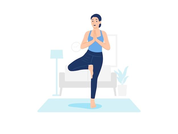 自宅でカーペットの上でヨガを練習する女性の概念図