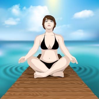 Женщина упражнениями йоги на деревянном пирсе в море с cloudscape