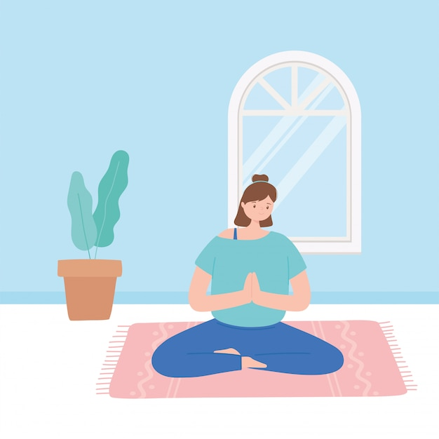 Женщина практикует йогу позы упражнения, здоровый образ жизни, физические и духовные практики иллюстрации