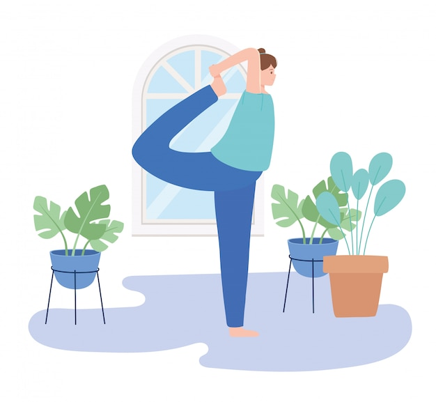 Woman practicing yoga pose exercises, healthy lifestyle, physical and spiritual practice  illustration
