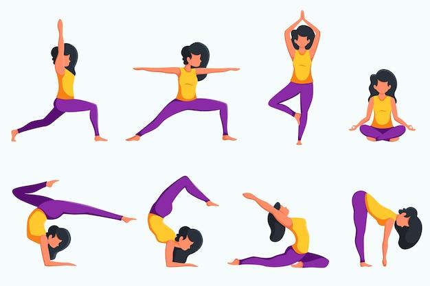 Женщина, практикующая йогу, набор разных позах. здоровый образ жизни. в плоском стиле