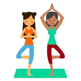 Woman practicing yoga in the tree pose. in asana vrikshasana.