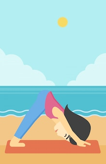 Woman practicing yoga vector illustration.