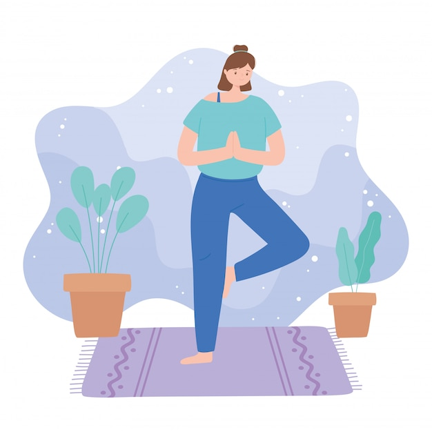 Woman practicing yoga vrksasana pose exercises, healthy lifestyle, physical and spiritual practice  illustration