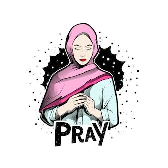Woman pray with hijab
