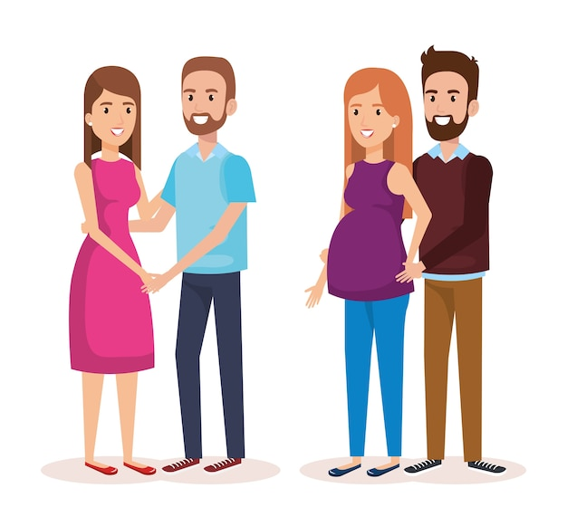 Woman pregnacy with group of people avatars characters