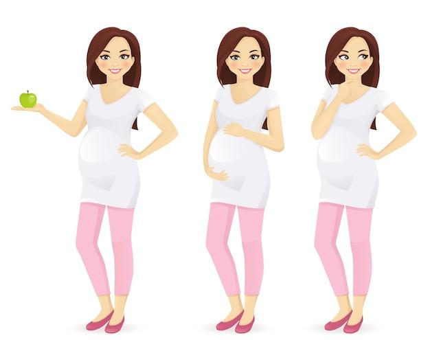 孤立したさまざまなポーズで立っている妊娠中の女性。青リンゴを持って、お腹に触れて、考えて。