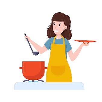 여자는 냄비에 음식을 준비 스토브에 수프 캐서롤