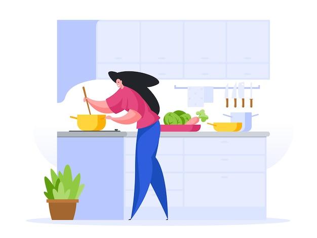 Женщина готовит вкусный суп дома иллюстрации шаржа