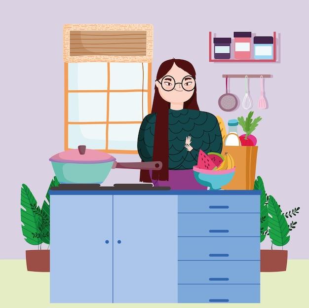 음식을 준비하는 여자