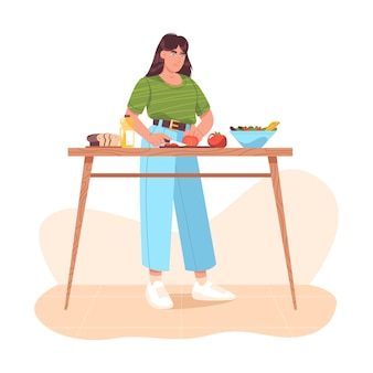 Woman preparing healthy food, cutting fresh vegetables. homemade meals on kitchen table at home. girl cooking vegetable salad, slicing tomatoes. vegetarian cuisine. flat cartoon vector illustration.