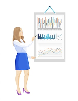 Woman presentation infographics and infocharts on board paper