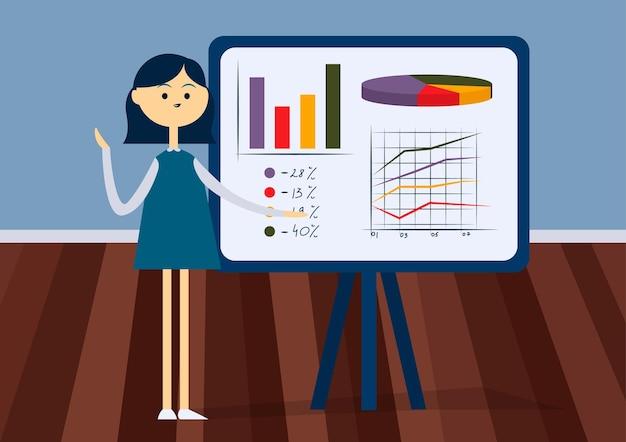 Женщина, представляющая на флипчарте в офисе. передний план. красочный мультфильм векторные иллюстрации