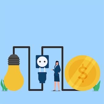 Женщина представляет, как можно сэкономить электроэнергию и деньги