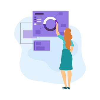 Женщина представляет проект. исследуйте диаграмму