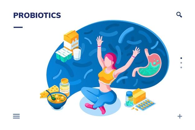 Woman and probiotics products. food for healthy bowel, gut flora, stomach disease. kefir, kombucha tea, soup, pills. diet