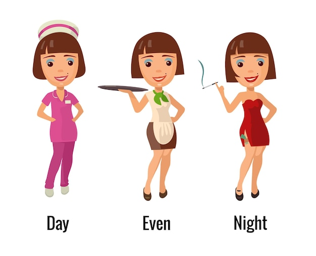 Woman professions - doctor waitress and dancer. flat vector illustration. for icon, web.