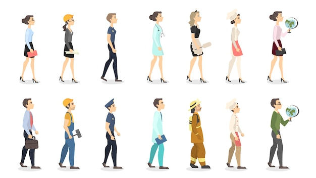 Woman professions set. teacher and police officer, businesswoman and scientist.